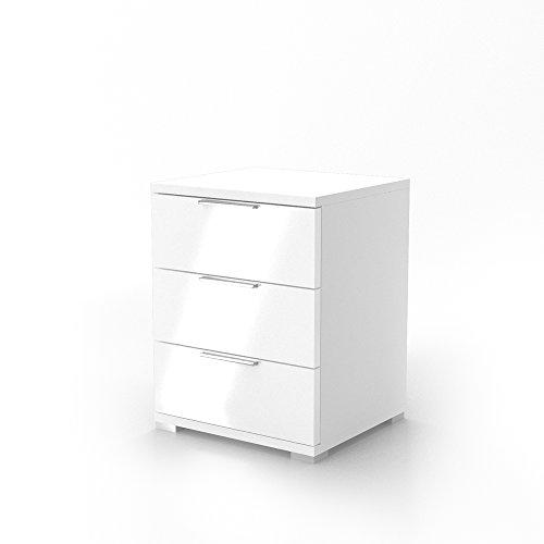 VICCO Nachtschrank Kommode Nachttisch Schrank Schublade Ablage Schlafzimmer (Weiß Hochglanz)