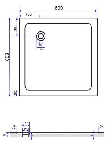 50 mm Duschtasse 80 x 80 cm