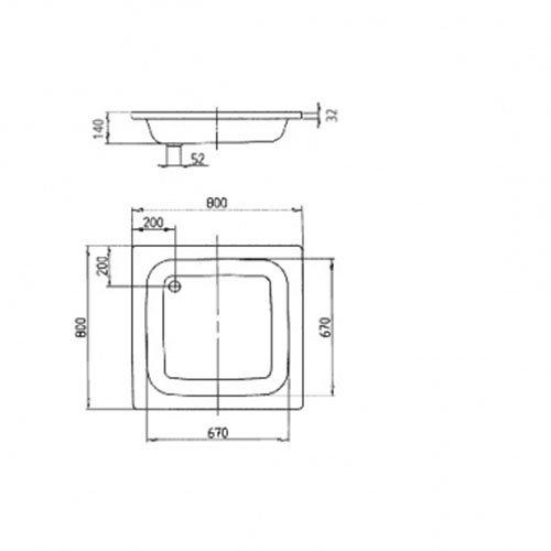 KALDEWEI Stahl-Duschwanne SANIDUSCH Brausewanne Duschtasse 80x80x14 cm SET mit Träger Ablauf