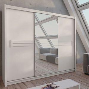 Schiebetürenschrank - Kleiderschrank - Schwebetürenschrank HAVANA in Weiß mit Spiegel, Breite: 250 cm