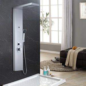 Auralum® Edelstahl Duschpaneel Duschset Wasserfall Duschsäule Regendusche Duscharmatur mit Wasser Temperatur Display inkl.Handbrause