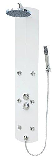 Duschpaneel mit Thermostat Weiss Eckmontage Regendusche Dusche Duscharmatur Duschsäule Armatur Handbrause Duschkopf Duschsystem
