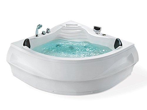 Whirlpool Badewanne St. Tropez mit 14 Massage Düsen + Heizung + Ozon Desinfektion + LED Unterwasser Beleuchtung / Licht + Wasserfall + Radio - Sprudelbad Hot Tub indoor / innen günstig