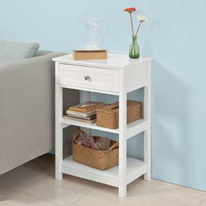 SoBuy FBT46-W Beistelltisch Nachttisch Couchtisch in weiß mit einer Schublade und 2 Ablagen BHT ca: 45x68x30cm