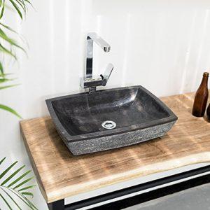 WOHNFREUDEN Marmor Waschbecken MARA 50 cm anthrazit ✓ Naturstein Waschschale Handwaschbecken rechteckig gehämmert für Bad Gäste WC ✓ inkl. techn. Zeichnung