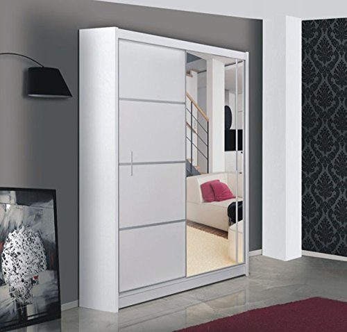 Kleiderschrank VISTA in Weiß, mit Spiegel, Breite: wahlweise 150cm/180cm/203cm/250cm
