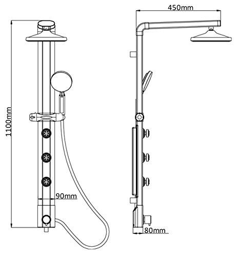 Duschsäule Duschpaneel Brausepaneel Duschsystem große runde Led Regendusche Aluminium Duschgarnitur Dusch Set Handbrause Duschkopf Stabbrause Duscharmatur Eck und Wandmontage in Silber