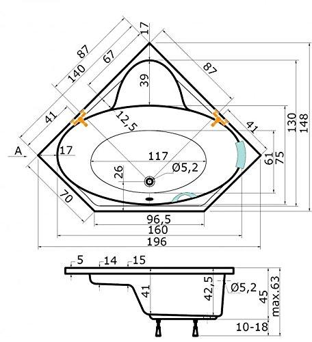 Badewanne 140x140 KRETA - Acryl Eckbadewanne