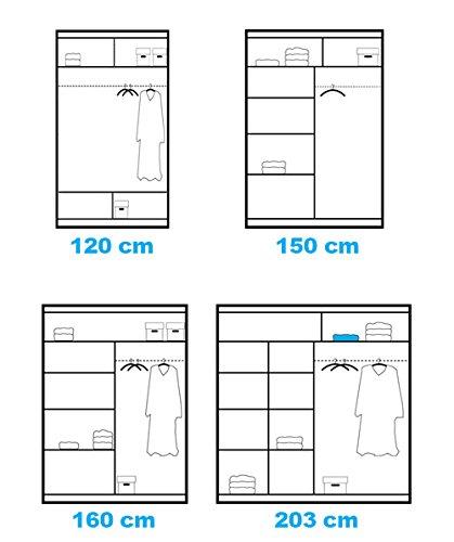 TrendyHome24 Schiebetürenschrank - Kleiderschrank - Schwebetürenschrank Eiffel in Weiß, mit Spiegel, Breite: 120cm/150cm/160cm/203cm