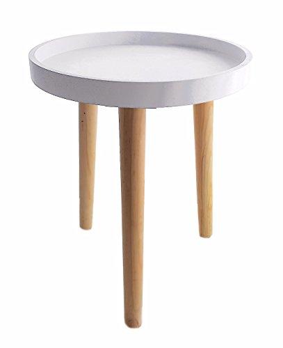 Deko Holz Tisch 36x30 cm - weiß - kleiner Beistelltisch Couchtisch Sofatisch