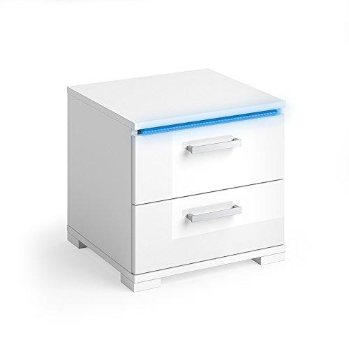 VICCO Nachtschrank PICOT weiß hochglanz LED Nachttisch Kommode Schrank Schlafzimmer Schublade