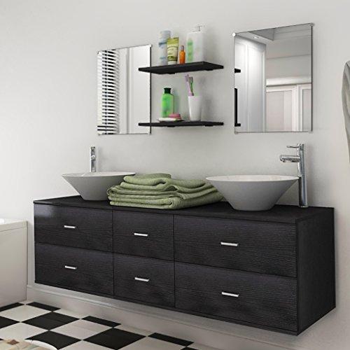 Festnight 7-tlg. Badezimmermöbel-Set Badmöbel Set inkl. Waschbeckenschrank, Spiegel, Regal und Waschbecken Schwarz