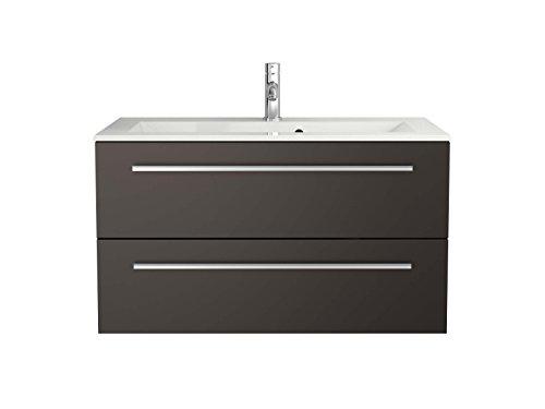 Sieper Libato Waschtischunterschrank + Leuchtspiegel - 60 cm 90 cm 120 cm Breit - weiß und anthrazit Hochglanz - Badmöbel Badezimmermöbel Waschtisch Unterschrank Badmöbel Set … (90, anthrazit)