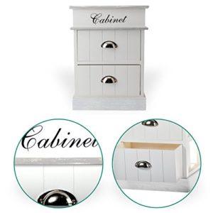 DRULINE Cabinet Kommode Nachtschrank Badschrank Weiß Holz 2Schubladen Regal