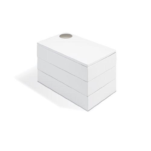 Umbra Spindle Schmuckkasten – Schwenkbares Schmuckkästchen mit 3 Ebenen zur Aufbewahrung von Schmuck, Uhren, Accessoires, Souvenirs und Mehr, Holz/Hochglanz Weiß