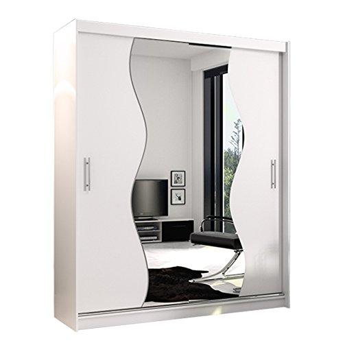 Mirjan24 Schwebetürenschrank Kola X mit Spiegel, Hochwertiges Schlafzimmerschrank, Schiebetür, Elegante Garderobeschrank, Schlafzimmer, Jugendzimmer (ohne Beleuchtung, Weiß Matt)