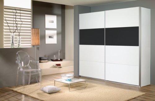 Rauch Schwebetürenschrank Weiß Alpin 2-türig, Glas Absetzung Schwarz, BxHxT 136x210x62cm