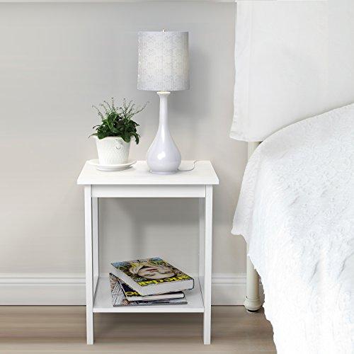 HOMFA Nachttisch Nachtschrank Beistelltisch Couchtisch Telefontisch Sofatisch Kaffeetisch 2 Etage weiß