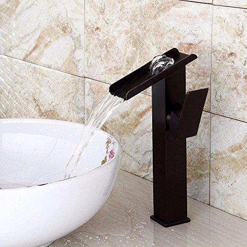Gyps Faucet Waschtisch-Einhebelmischer Waschtischarmatur BadarmaturSchwarz Fällt Wasser Kalt Wasser Keramik Ventil Einloch Single Bad Waschtisch Armatur mit Griff,Mischbatterie Waschbecken