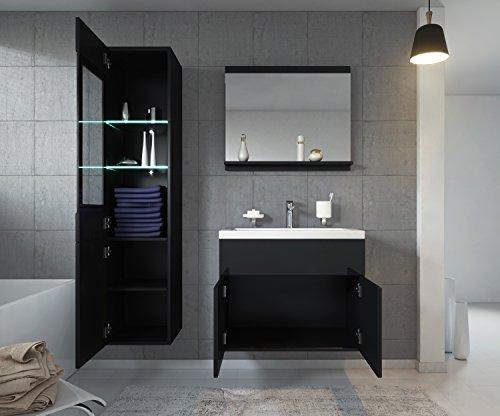 Badezimmer Badmöbel Rio LED 60 cm Waschbecken Hochglanz Schwarz Fronten - Unterschrank Hochschrank Waschtisch Möbel