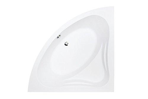 EXCLUSIVE LINE® Eckbadewanne Eckige Acryl Badewanne MIA 140x140 cm mit Schürze Ablaufgarnitur Komplettset