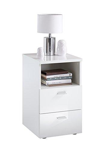 Unbekannt FMD Möbel Colima 1 Up Nachtkonsole, Holz, hochglanz weiß, 35 x 40 x 61.5 cm