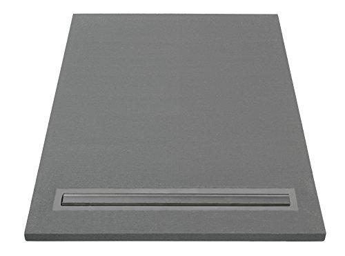 Lazer 372055 Duschwanne, zum Befliesen, mit Abfluss, grau, 372055