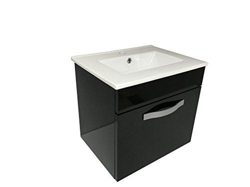Starbath - Badmöbel Set STOL 50 x 38 cm Schwarz + Keramik Waschbecken. Badmöbel Set Gäste WC.