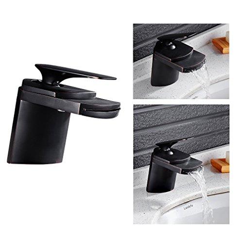 Auralum Wasserhahn Wasserfall Einhandmischer Waschtisch Waschbecken Bad Armatur Mischbatterie Schwarz