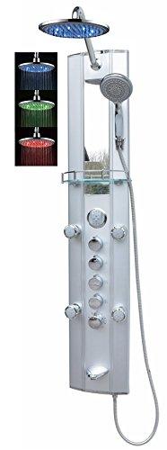Thermostat Duschpaneel Duschsäule Brausepaneel Duschsystem Badewanneneinlauf große Led Regendusche runde Regenwald Dusche 6 Massagedüsen Handbrause Duschkopf Duscharmatur Wandanschluss in Silber