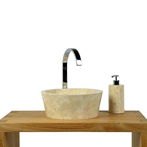 WOHNFREUDEN Marmor Waschbecken 30 cm ✓ groß rund creme ✓ Naturstein Waschplatz Handwaschbecken Steinwaschschale Natursteinwaschbecken für Ihr Bad ✓ inkl. techn. Zeichnung ✓ versandkostenfrei