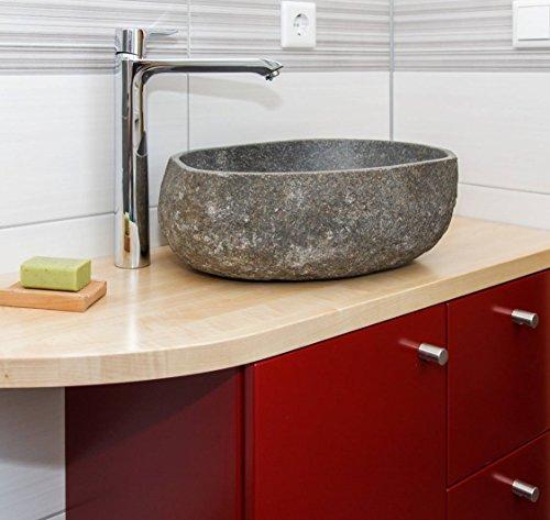 Wohnfreuden Steinwaschbecken Naturstein Waschbecken 40 cm oval aus Flussstein Granit oder Findling für Ihr Gäste WC Bad | Versandkostenfrei ✓