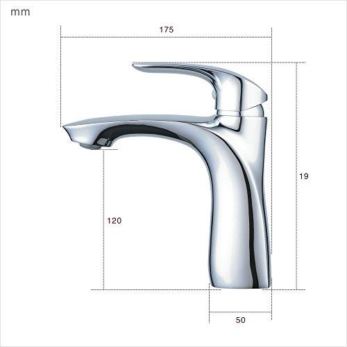 Waschtischarmaturen Bad ,Schwarz+Chrom,Einloch-Deckmontage Messing Badarmatur - Waschtischarmatur,Beelee BL6628BC