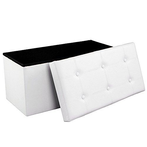 SONGMICS Faltbarer Sitzbank, Sitztruhe mit 80 L Stauraum, bis 300 kg belastbar, kunstleder, weiß LSF106