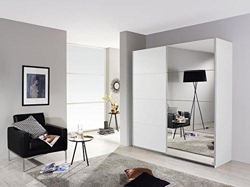 Rauch Schwebetürenschrank 2-türig Weiß Alpin mit Spiegel, BxHxT 136x197x61 cm