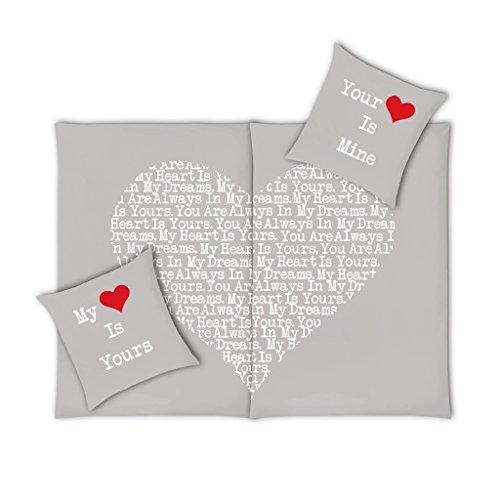 VS Home Partner-Bettwäsche Heart Herz Valentinstag / 100% Baumwolle / 4-teilig / 135cm x 200 cm / in verschiedenen Farben erhältlich, Farbe:rot, Webart:Renforcé, Größe:135 cm x 200 cm