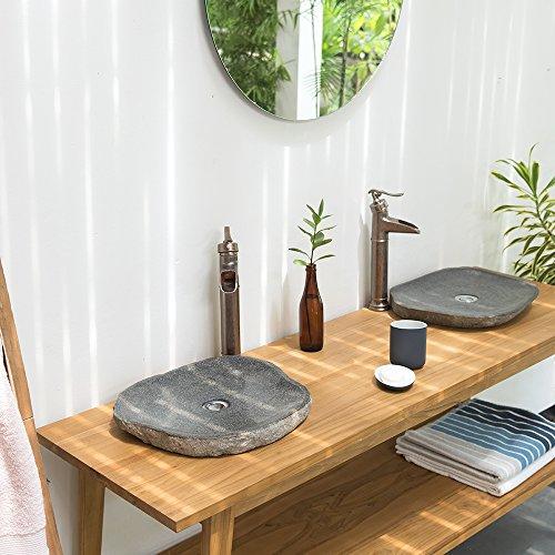 WOHNFREUDEN Naturstein Waschbecken extraflach oval 40 cm - 50 cm aussen natur ✓ einzeln fotografiert + Auswahl passender Stein-Waschbecken aus Bildergalerie ✓ Aufsatz-Waschbecken Bad Gäste WC