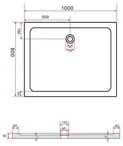 100 80 duschtasse duschwanne extra flach 50 mm rechteck wei m bel24 shopstyles. Black Bedroom Furniture Sets. Home Design Ideas