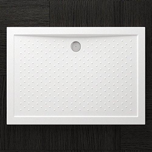 TBH: 80x120x4cm Design Duschtasse Lucia04AR mit Anti-Rutsch Profi, inkl. Ablaufgarnitur AL02, in Weiß, Duschwanne, Acrylwanne