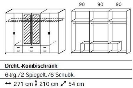Rauch 5F64 Drehtürenschrank/6-türig/B 271 H 210 T 54 cm/Korpus/Front: alpinweiß