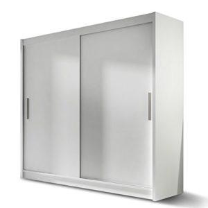 Kleiderschrank London I, Schwebetürenschrank, Schiebetürenschrank, Modernes Schlafzimmerschrank 180x215x57cm, Garderobe, Schlafzimmer (Weiß)