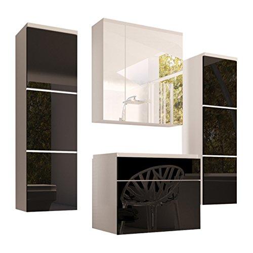 Badmöbel Set Porto mit Waschbecken und Siphon, Modernes Badezimmer, Komplett, ink. Spiegelschrank, Waschtisch, Hochschrank, Möbel (mit weißer LED Beleuchtung, Weiß / Schwarz Hochglanz)