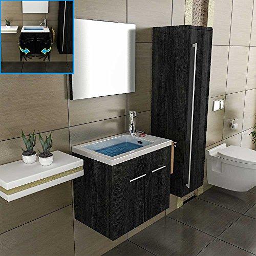 Badmöbel Set mit Waschbecken aus Mineralguss, Unterschrank und Spiegel mit Softclose-Funktion / schwarz / 50 cm Breite