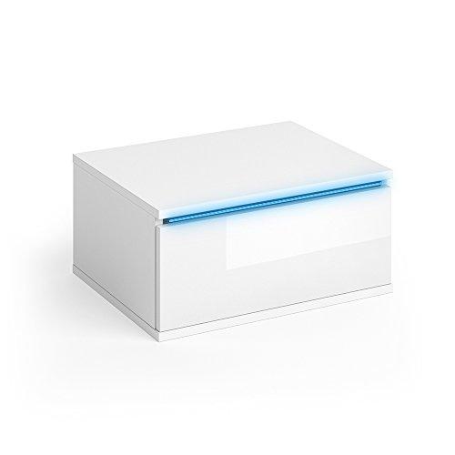 VICCO Nachttisch PIERRE weiß hochglanz LED Nachtschrank wandhängend Kommode Schrank Schlafzimmer Schublade