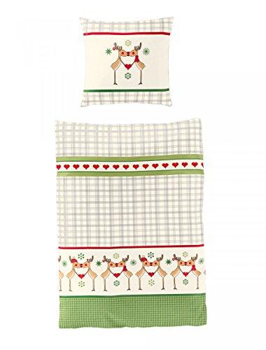 Bierbaum Biber Bettwäsche Design 3065 Bettdecke 135/200 + Größe Kissen 080/080, Baumwolle, Grün, 135 x 200 cm, 2-Einheiten