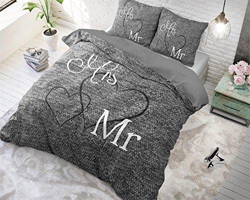 Bettwäsche Sleeptime Baumwolle Mr. And Mrs. 3, 200cm x 220cm, Mit 2 Kissenbezüge 60cm x 70cm, Grau