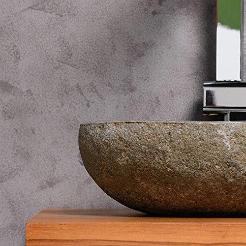 WOHNFREUDEN Naturstein Waschbecken rund oval 30 cm ♥ Stein Aufsatzwaschbecken für Gäste WC Bad ✓ einzeln fotografiert + Auswahl Steinwaschbecken aus Bildergalerie ✓ schnell & versandkostenfrei ✓