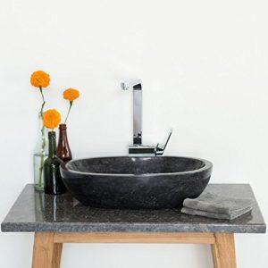 WOHNFREUDEN Marmor Waschbecken MARA 50 cm anthrazit ✓ Naturstein Waschschale Handwaschbecken oval poliert für Bad Gäste WC ✓ inkl. techn. Zeichnung ✓ schnell & versandkostenfrei ✓