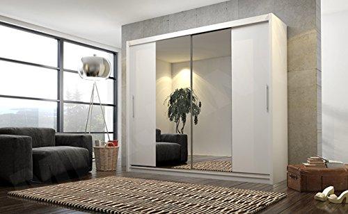 Mirjan24  Schwebetürenschrank Kola IV mit Spiegel, Hochwertiges Schlafzimmerschrank, Schiebetür, Elegante Garderobeschrank, Schlafzimmer, Jugendzimmer (Weiß Matt, ohne Beleuchtung)