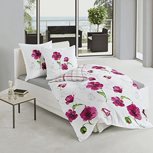 Bierbaum 6404_01 Mako-Satin-Bettwäsche Dessin, 135 x 200 cm, 80 x 80 cm, rosa
